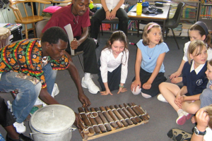 School-children-play-Gambian-instruments